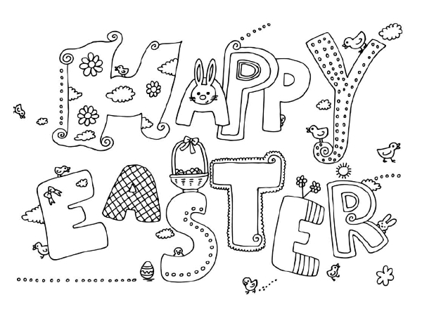 Happy Easter Coloring Page Country Victorian Times