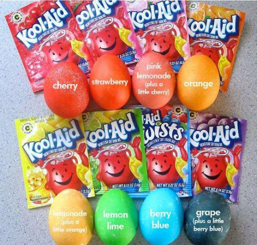 Easter egg coloring with kool aid country victorian times - What are the easter colors ...
