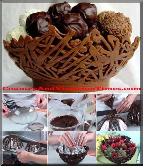 chocolate bowl nest serve party desert treat foil neat elegant melt