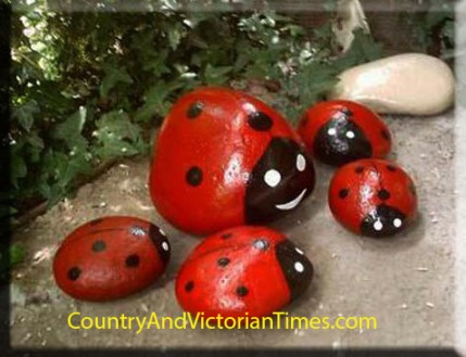 lady bug rocks paint red black white, child children kid craft art