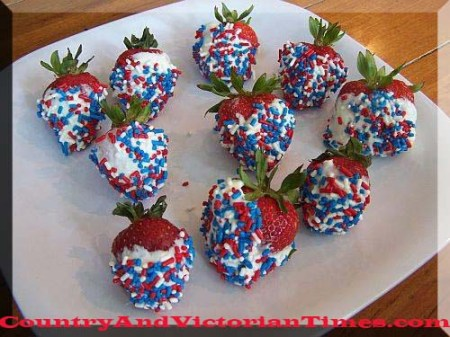 memorail day 4th of july strawberries chocolate sprinkles desert party pool country and victorian times