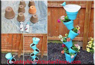 pot recycle terra cotta birdbath plants flowers garden