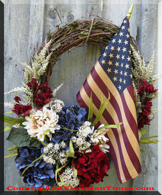 Red white and blue wreath country victorian times mightylinksfo