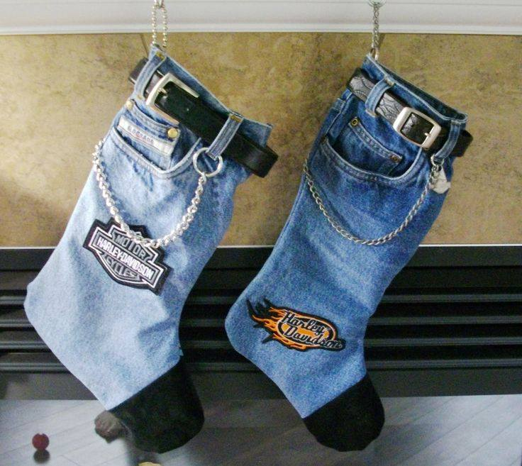 Harley Davidson Jean Christmas Stockings Country