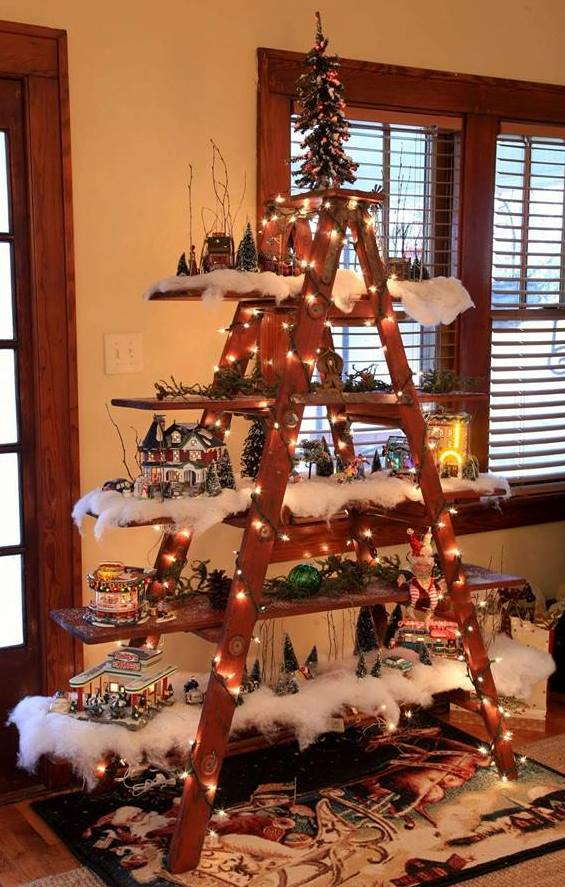 Christmas Village Display.Christmas Tree Decorating Idea Ladder Display Shelf
