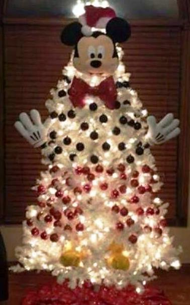 Christmas Tree Decorating Idea Mickey Mouse On White Tree ...