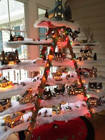 Christmas Tree Decorating Idea Ladder Display Shelf Country
