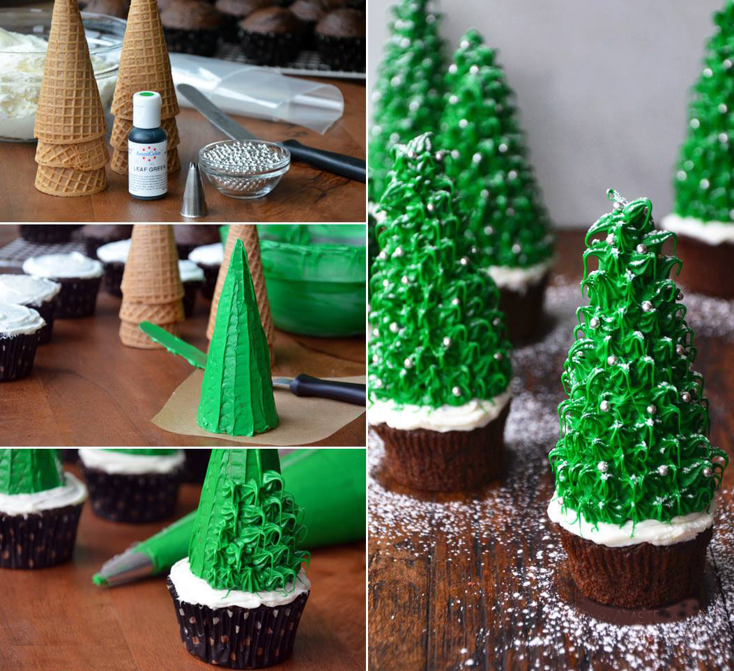 How To Make Cake Decoration Cone : Christmas Tree Cupcake Country & Victorian Times