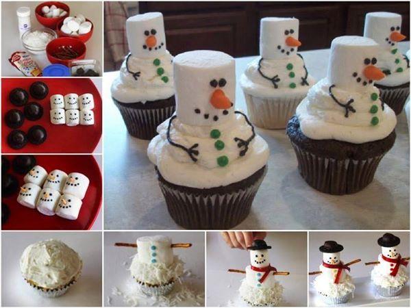 Marshmallow Snowmen Christmas Cupcakes & Very Simple Christmas Cupcake Designs Idea | Country u0026 Victorian Times