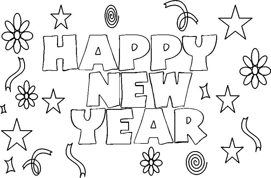 Happy New Year Coloring Page | Country & Victorian Times