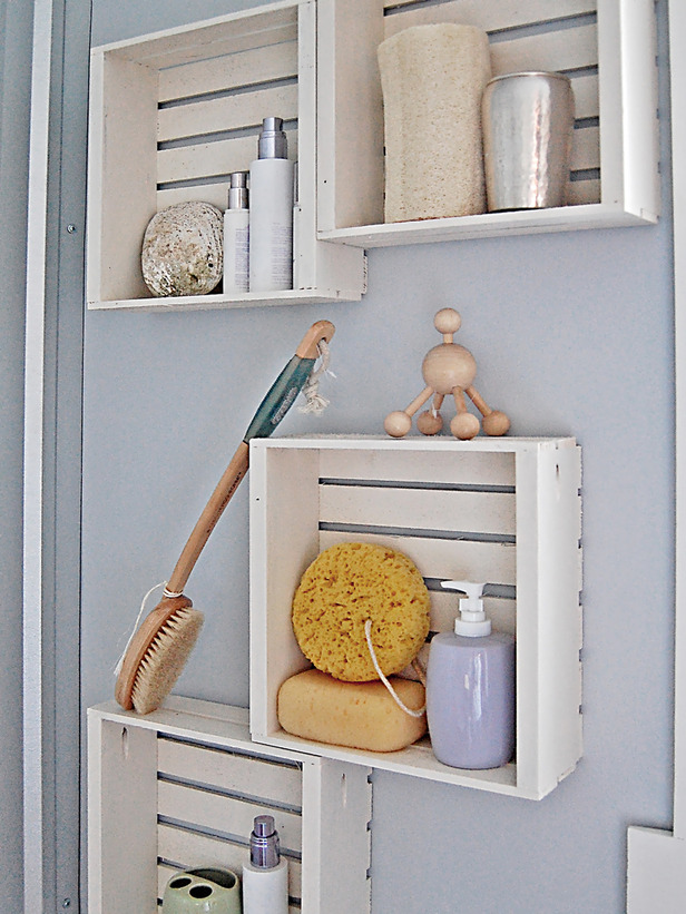 Shallow Wood Crates For Bathroom Storage Country Victorian Times