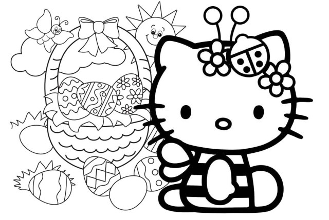 Hello Kitty Easter Coloring Pages 111690