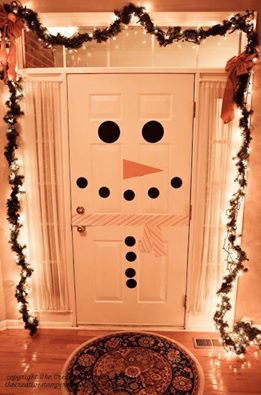 easy christmas snowman door decoration idea country victorian times