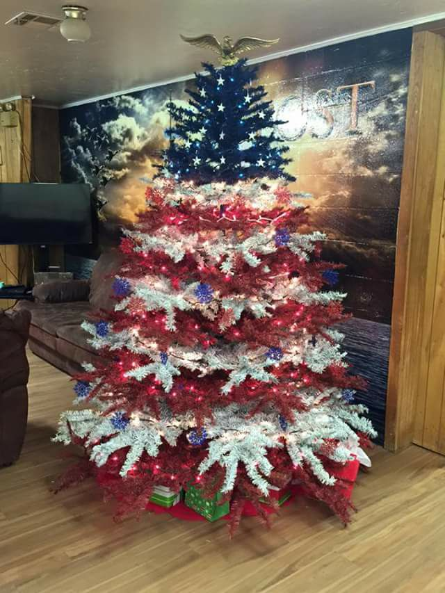 Red white blue christmas tree idea country