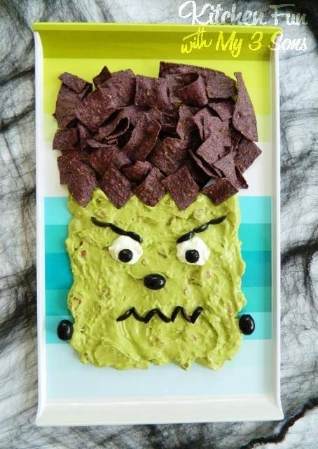 halloween guacamole dip tortilla chips frankenstein head